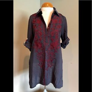 Andree by unit - Navy button up shirt w/paisley